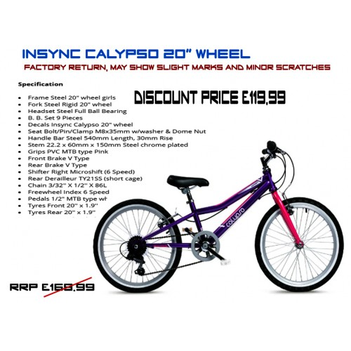 "Insync Calypso 20"" Wheel 6 speed  - Girls"