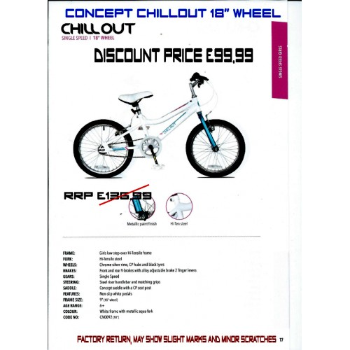 """Concept Chillout 18"""" wheel -Girls"""