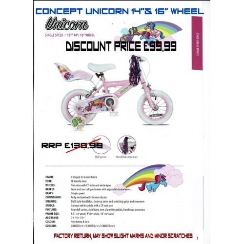 "Concept Unicorn 14"" and 16"" wheel -Girls"