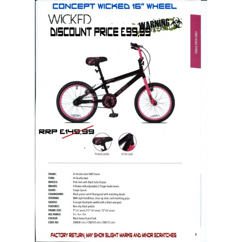 "Concept Wicked 16"" wheel- Girls"